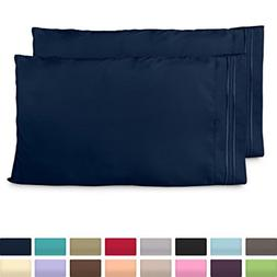 Cosy House Collection Pillowcases Standard Size - Navy Blue