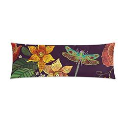 InterestPrint Body Pillow Cover Flowers And Dragonfly Pillow