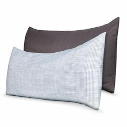 Body Pillow Cover 2 Pack - Grey Solid and White Gray print 5