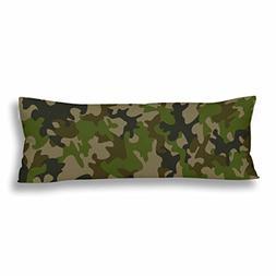 InterestPrint Body Pillow Cover Green Camouflage Pillowcase