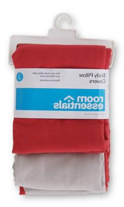 Room Essentials Set of 2 Body Pillow Covers - Blood Orange a