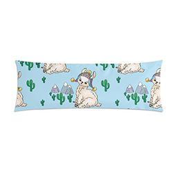 InterestPrint Body Pillow Covers Pillowcase Cute Llamas Cust