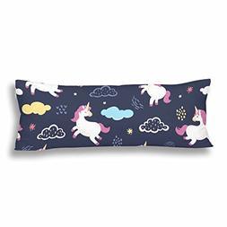 InterestPrint Body Pillow Covers Pillowcase Unicorns Custom