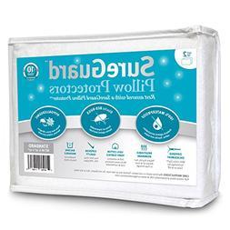 Set of 2 Standard Size SureGuard Pillow Protectors - 100% Wa