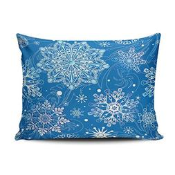 pillowcases blue white snowflakes customizable