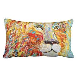 Accrocn Pillowcases Colorful Abstract Animal Lion Art Oil Pa