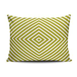 XIUBA Pillowcases Geometric Diamond Box Pattern Chartreuse G