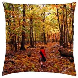 pillowcases little boy woods autumn