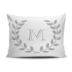 XIUBA Pillowcases Whiite Grey Laurel Wreath Monogram Customi