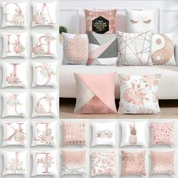 Pink Cushion Cover Letter Print Pillow Case Throw Pillowcase
