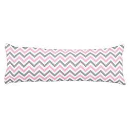 Pink Dk Gray Wht Large Chevron ZigZag Pattern Body Pillow Co