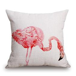 Elliot_yew Pink Flamingos Creative Cotton Linen Pillow Cushi