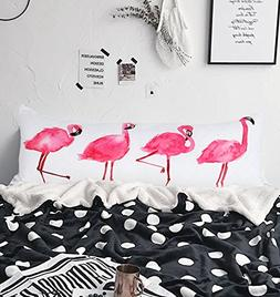 Arightex Pink Flamingos Body Pillow Cover Long Body Pillow C