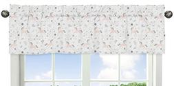 Pink, Grey and Gold Window Treatment Valance for Unicorn Col