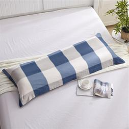Zhiyuan Plaid 100% Cotton Body Pillow Cover Long Pillowcase,