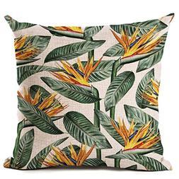 3D Pillowcase Plant Cushion Cover Tropic Tree Green Throw Pi
