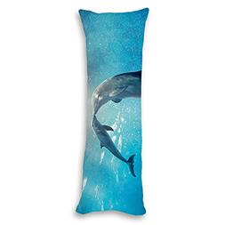 Poieloi Dolphin Kiss Underwater Long Body Pillow Covers Case