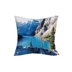 iPrint Polyester Throw Pillow Cushion,Nature,Moraine Lake Ba