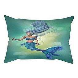 iPrint Polyester Throw Pillow Cushion Cover,Mermaid Decor,Me