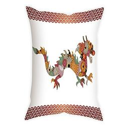 iPrint Polyester Throw Pillow Cushion Cover,Dragon,Floral Or
