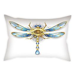 Cotton Linen Throw Pillow Cushion Cover,Dragonfly,Close Up V