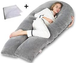 AngQi Pregnancy Body Pillow with Gray Velvet Cover, U Shaped