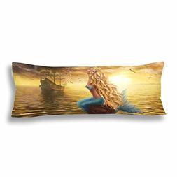 InterestPrint Princess Mermaid Fish Body Pillow Covers Pillo
