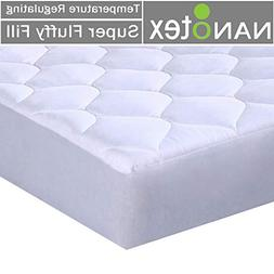 Quilted Fitted Mattress Pad Featuring Nanotex Coolest Comfor