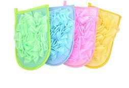 YJYdada 1PC New Random Color Double-sided Bath Gloves With F