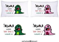 RAWR means I LOVE YOU in pink and green dinosaur Pillowcase