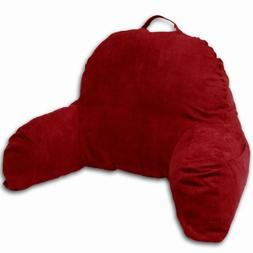 Red Microsuede Bed Rest Reading Pillow & Support Bed Backres