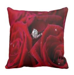 Red Roses and Diamonds pillow case 18 X 18 inch/45cmX45cm