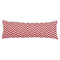 Red and White Large Chevron ZigZag Pattern Body Pillow Cover