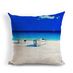 Retro Sand Boat Vintage Series Cotton Linen Square Throw Pil