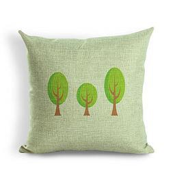 Retro Three Trees Vintage Series Cotton Linen Square Throw P