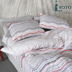 OTOB 3 Piece Reversible Striped Duvet Cover and Pillow Shams
