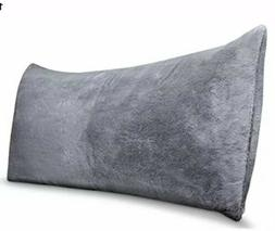 Room Essentials Gray Faux Fur Body Pillow Case Cover Nwot