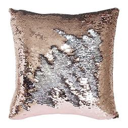 TRLYC Rose Gold and Silver 18 by 18inch Reversible Mermaid S