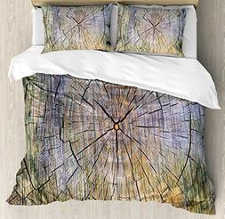 Ambesonne Rustic Duvet Cover Set King Size, Annual Rings of