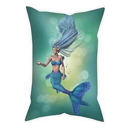 iPrint Satin Throw Pillow Cushion Cover,Mermaid Decor,Mermai