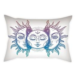 iPrint Satin Throw Pillow Cushion Cover,Moon,Psychedelic Rep