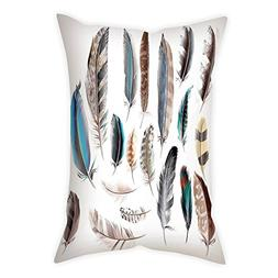 iPrint Satin Throw Pillow Cushion Cover,Feather House Decor,