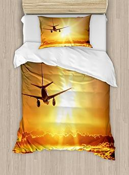 Ambesonne Scenery Duvet Cover Set Twin Size, Aeroplane Aircr