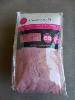 Sears Colormate Plush Faux Fur Pink Rose Pattern Body Pillow