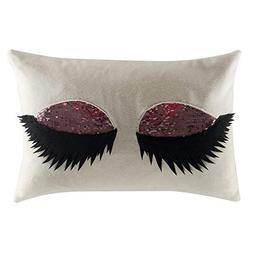 JWH Sexy Eyelash Accent Pillow Case Reversible Sequins Cushi