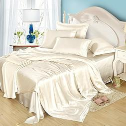 LilySilk 4Pcs Silk Bedding Sheets Set Flat Sheet Fitted Shee