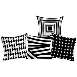 SODIAL 4PCS simple geometric black and white Creative Linen
