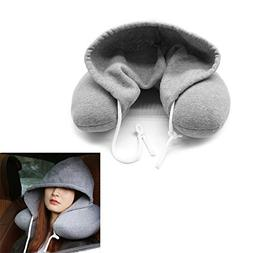 VaThaStore Soft Hooded U-pillow Body Neck Pillow Solid Grey