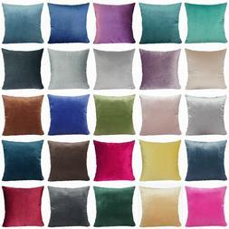 Soft Microfiber Velvet Solid Color Throw PILLOW COVER Sofa C