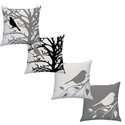 LAZAMYASA Square Cartoon Bird Printed Cushion Cover Cotton T